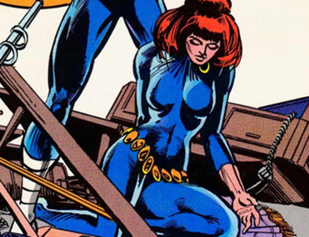 Bullseye takes Black Widow captive